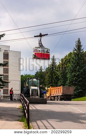 05 Jul 2017  Pyatigorsk. Russian Federation. People are riding in the car ropeway.