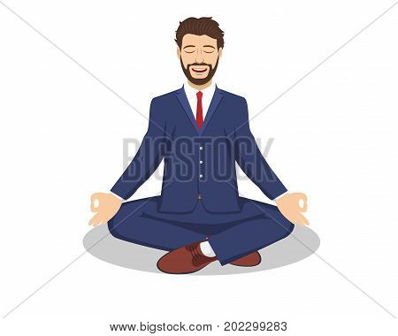 Business man sitting in the padmasana lotus pose. Office worker meditating, relaxing or doing yoga after stress and hard work day. Vector illustration in flat style