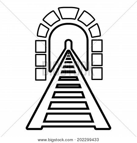 Railway tunnel icon. Outline illustration of railway tunnel vector icon for web design isolated on white background