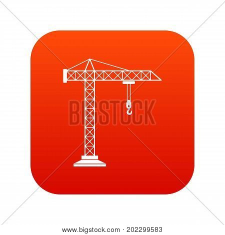 Construction crane icon digital red for any design isolated on white vector illustration