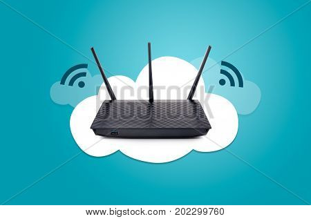 Modern wireless router on cloud graphic composition