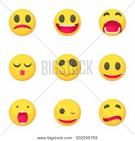 Emoticons icons set. Cartoon set of 9 emoticons vector icons for web isolated on white background