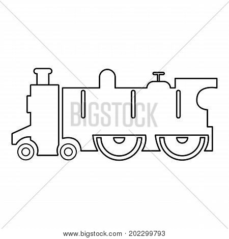 Old steam locomotive icon. Outline illustration of old steam locomotive vector icon for web design isolated on white background