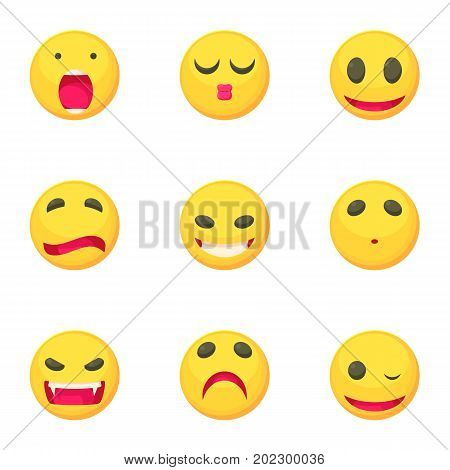 Different emoticons icons set. Cartoon set of 9 different emoticons vector icons for web isolated on white background