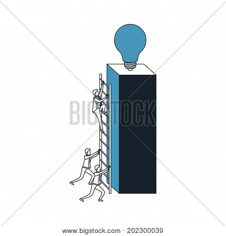 businessmen climbing wooden stairs in a big rectangular block with light bulb in the top color blue sections silhouette vector illustration