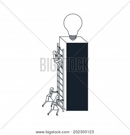 businesswomen climbing wooden stairs in a big rectangular block with light bulb in the top color blue sections silhouette vector illustration