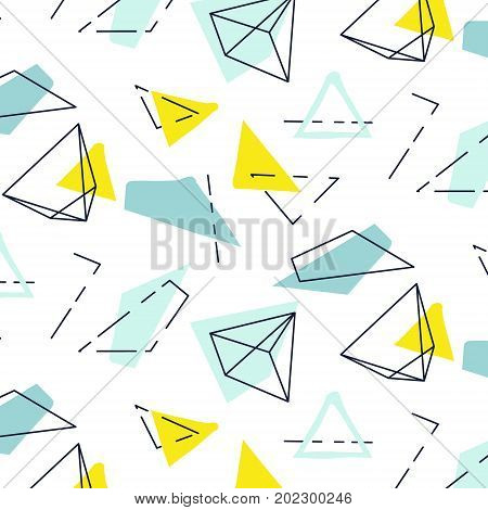 Vector bstract polygonal pattern. Kid stylish contemporary decoration with triangles and lines. Repeat mosaic art cover, child mint pastel print. Organic cross drawn ditsy texture