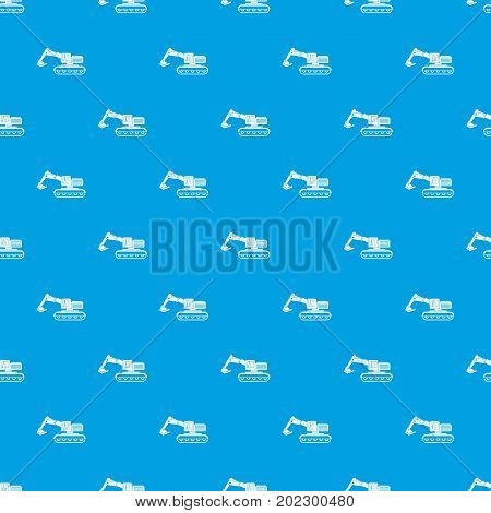 Excavator pattern repeat seamless in blue color for any design. Vector geometric illustration