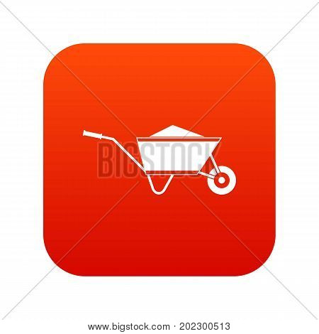 Wheelbarrow with sand icon digital red for any design isolated on white vector illustration