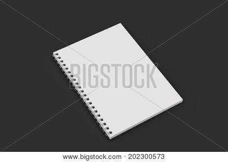 Opend Notebook Spiral Bound On Black Background
