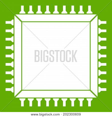 Computer microchip icon white isolated on green background. Vector illustration