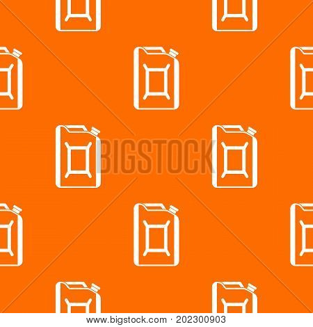Flask for gasoline pattern repeat seamless in orange color for any design. Vector geometric illustration