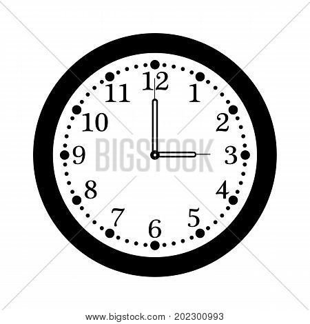 Vector flat office clock with numbers. White dial with minute and hour hands