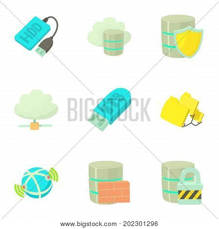 Data storage icons set. Cartoon set of 9 data storage vector icons for web isolated on white background
