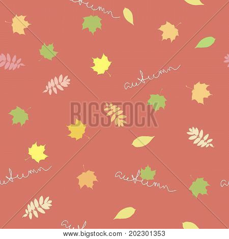 Seamless background with autumn leaves and the words