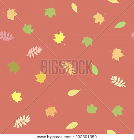 Seamless background with colorful autumn leaves on the delicate pink background