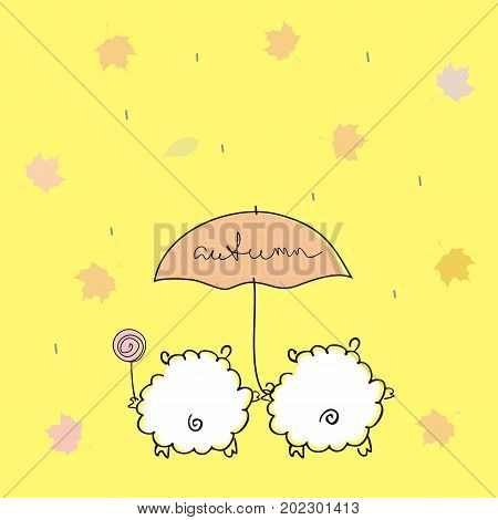 Two lovely sheep under an umbrella with a handwritten inscription