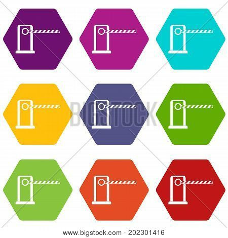 Parking entrance icon set many color hexahedron isolated on white vector illustration