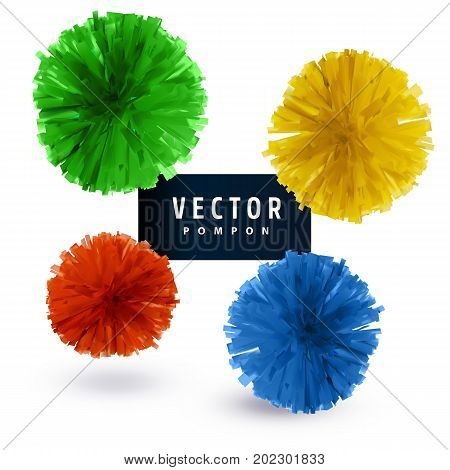 Colorful paper vector pompons isolated on white background. Abstract round design element.