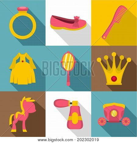 Doll princess icon set. Flat style set of 9 doll princess vector icons for web design