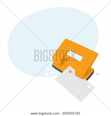 Punches pierce paper. Process. Office work tool cartoon vector. Working in office, education, business concept.
