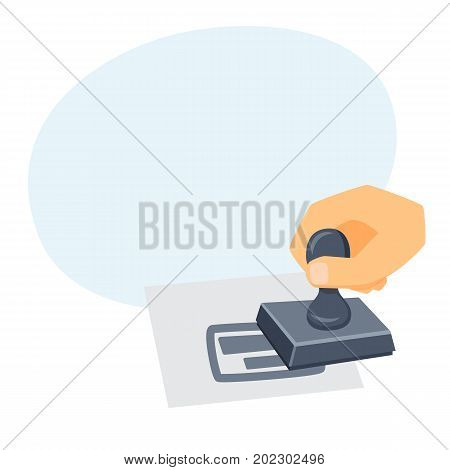 Hand with stamp. Process of imprint. Office work tool cartoon vector. Working in office, education, business concept.