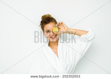 Woman In White Bath Towel