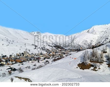 Les Deux Alpes ski resort town and slopes aerial view, France, French Alps