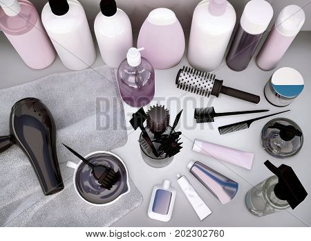 Hairdryer combs hair dye and professional cosmetics for hair located on a table. 3D illustration