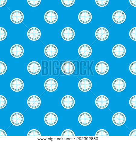 White round window pattern repeat seamless in blue color for any design. Vector geometric illustration