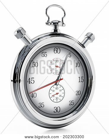 Fictitious analogue chronometer isolated on white background. 3D illustration.