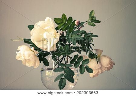 White roses with leaves in the glass