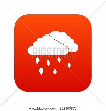 Clouds and hail icon digital red for any design isolated on white vector illustration