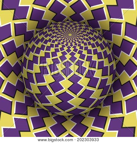 Optical illusion vector illustration. Checkered sphere soaring above the hole. Yellow purple patterned objects. Abstract background in a surreal style.