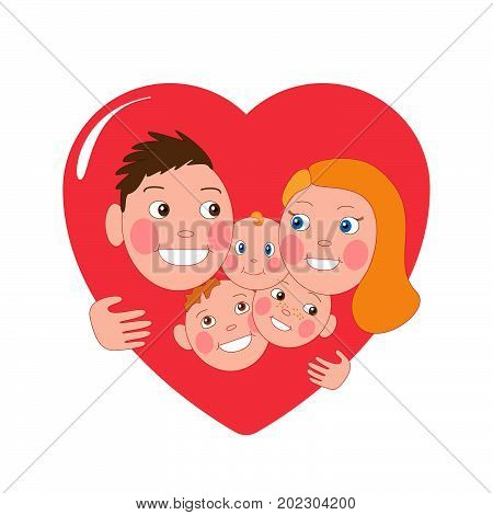 Happy family . Mom, Dad and three children