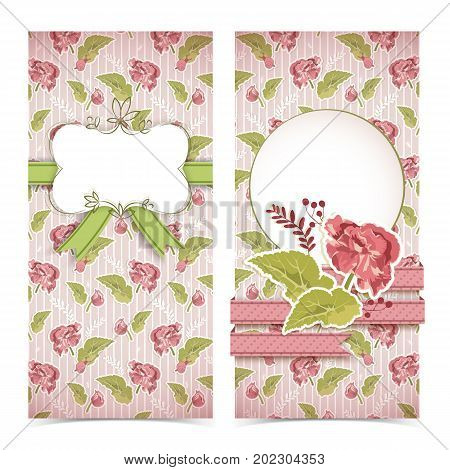 Vintage congratulatory vertical banners with elegant flower ribbons bow on red striped natural background vector illustration
