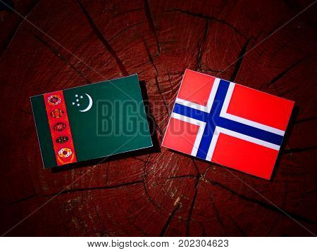 Turkmenistan Flag With Norwegian Flag On A Tree Stump Isolated