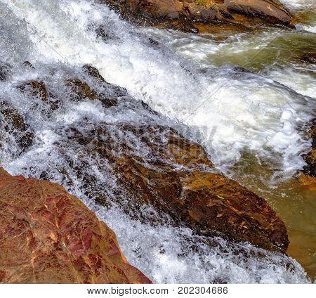 landscape Datanla Waterfall in Dalat Vietnam Mountain Stream