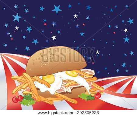an illustration of an american style messy sandwich full of ingredients in a stars and stripes landscape
