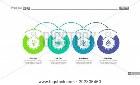 Process chart slide template. Business data. Graph, diagram, design. Creative concept for infographic, project. Can be used for topics like system, organizational chart, structure