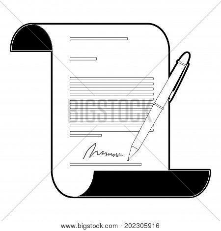 continuously sheet contract document firm and pen black silhouette and thick contour vector illustration