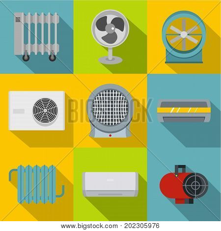Heating cooling air icon set. Flat style set of 9 heating cooling air vector icons for web design