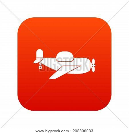 Toy plane icon digital red for any design isolated on white vector illustration