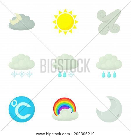 Modern weather icons set. Cartoon set of 9 modern weather vector icons for web isolated on white background