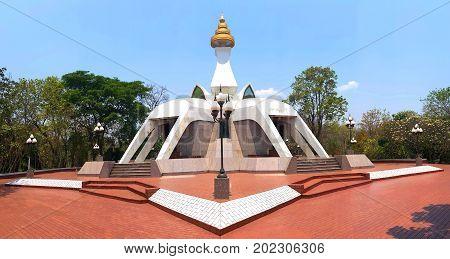 White pagoda at wat Tham Klong Pel temple in Nong Bua Lam Phu Province Thailand