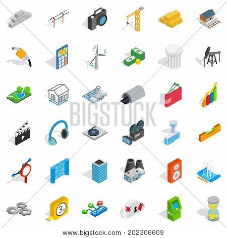 Technical icons set. Isometric style of 36 technical vector icons for web isolated on white background