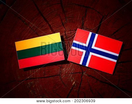 Lithuanian Flag With Norwegian Flag On A Tree Stump Isolated