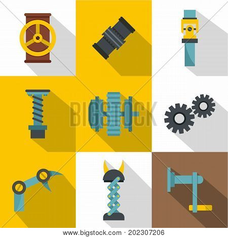 Mechanism parts icon set. Flat style set of 9 mechanism parts vector icons for web design