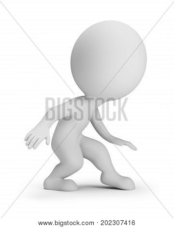 3d small people - slink. 3d image. White background.