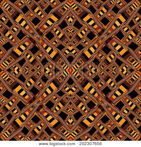 Seamless abstract geometric pattern on a brown background